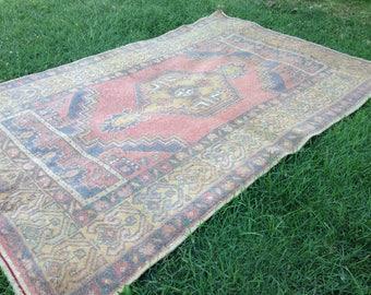 Turkish rug, Vintage rug, Handmade rug, Muted rug, Area rug, Wool rug, Bohemian rug, Rug//FREE SHİPPİNG!! 179 cm x 119 cm = 5,8 ft x 3,9 ft