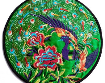 1 large round flat green birds flowers purple Peacock embroidery satin multicolor ethnic 19.5 cm