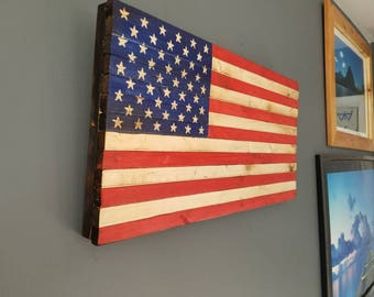 Rustic Torched Wooden American Flag 24.5x13