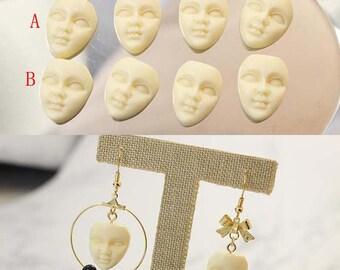 10PCS Moon Face Pendant, Bone Pendant, Sterling Silver, Bone Carving, Bone Face, Bali Bone Moon Face,Resin face Pendant Jewelry Supplies