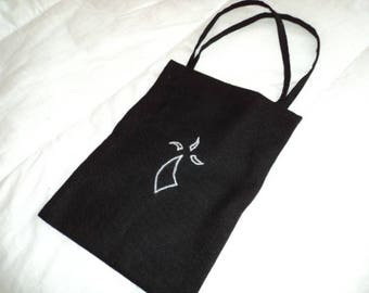 Tote bag breton or document holder black hand embroidered textile