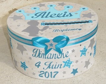 Baptism URN, stars, color turquoise blue, white and silver, customizable
