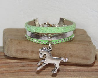 Girl Cuff Bracelet, pastel green, silver, glitter, studded, suede leather horse charm