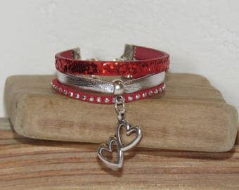 Bracelet for little girl charm hearts, red, silver, glitter, leather, suede studded, leather gift idea