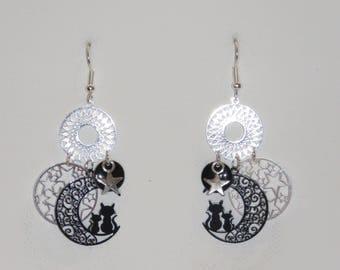 Prints, cats, stars earrings, black, silver, charms, dangling earrings star earrings