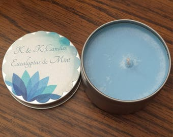 Eucalyptus and Mint Scented Soy Candle