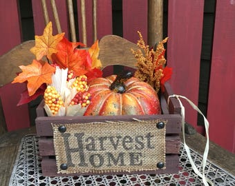 This is the cutest crate filled with everything Fall...Harvest Home Wooden Fall Crate with Pumpkins and Fall Leaves