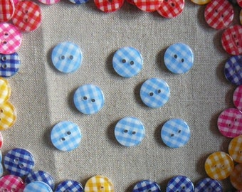 Buttons resin light blue gingham, 13 mm, new, by 8.