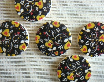Hearts Black/Yellow - set of 30 mm diameter, new, 5 wooden buttons.