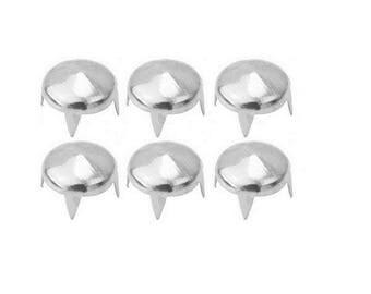4 silver prongs, pyramid shaped rivets, 9 mm - 12