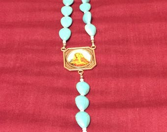 Rosary- Faux Turquoise Ceramic