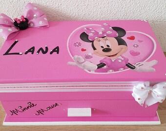 Pink Minnie wooden jewelry box