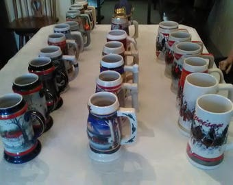 Budweiser Steins,Total Lot of Holiday and Limited Edition Collectible Steins