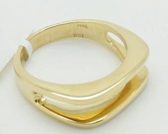 14k Solid Yellow Gold Double Bar Design Band Ring Size 7