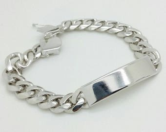"925 Solid Sterling Silver Miami Cuban ID Bracelet 9"" 11mm 55.7 grams"