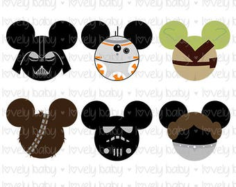 Star Wars Disney SET Of 6 SVG, T SHIRT, Cuttable File, dxf, eps, jpg, png, svg, Baby Boy, Cricut, Silhouette, Instant