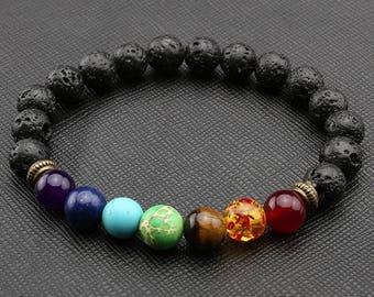 Bracelet 7 Chakras natural stone lava rock essantial oil diffuser Mala SM0011