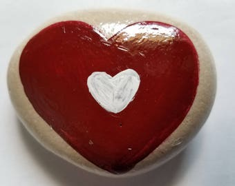 Hand Painted Heart Rock Paperweight Desk Decor Garden Patio Porch