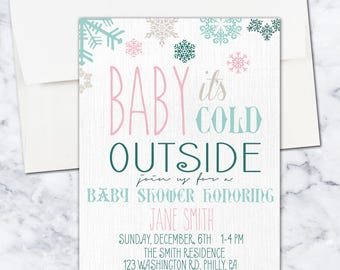 Baby It's Cold Outside Baby Shower Invitation, Winter, 5x7, Gender Neutral, Digital Download