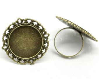 20mm - 50, 100 or 500 rings 20mm Cabochon - Bronze