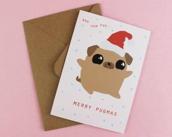 Christmas Pug card / Pugmas / Boyfriend xmas card / Dog Christmas card / Fawn Pug Card / Card for him / Card for her / Dog illustration