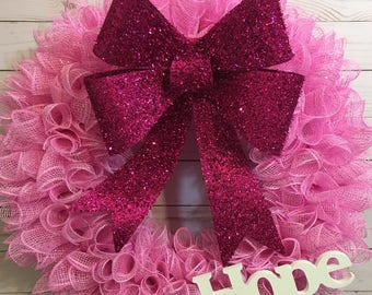 Breast Cancer Hope Wreath, Hope Wreath, Breast Cancer Deco Mesh Wreath, Pink Wreath, Breast Cancer Awareness Wreath