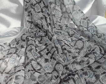 Black White Silk Scarf Chiffon Georgette Polyester Silk Shawl Women Silk Scarves Bandana Wrap Hijab Esharp Printed Scarf Gift for Her Mother