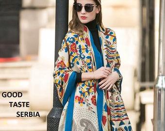 Poncho Multicolor Scarf Pashmina Shawl Boho Bohemian Scarves Oversized Wool Shawl Inca Maya Aztec Indian Tribal Etnic Scarf Cashmere Wrap