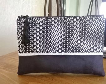 BAG clutch purse Japanese fabric and Black Suede