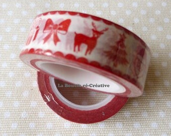 ROLL 10 m tape Christmas Washi Tape red & white!