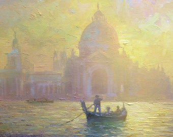 Venice painting, Italy landscape, Oil painting, Grand canal, Sunrise painting, City landscape, Original artwork, Morning sunshine,Small size