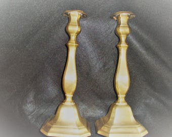 Heavy Brass Taper Candlesticks