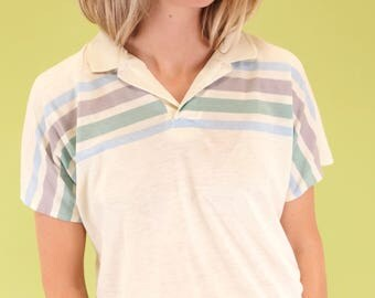 Awesome vintage ivory polo - sheer and very worn look SIZE M