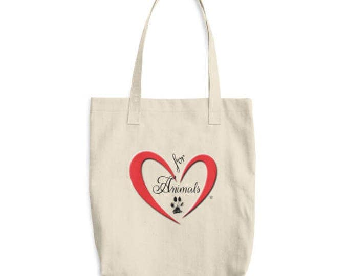 Heart of Love for Animals - Cotton Tote Bag - Made in America