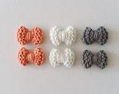 Nœuds coton Rose-Blanc-Gris - Tricot - Agathe et Ana