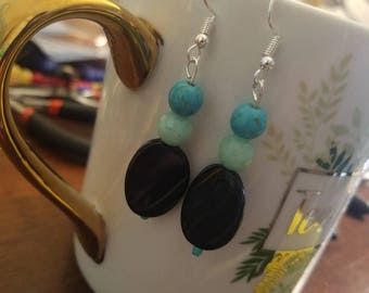 Black and Blues Dangle Earrings