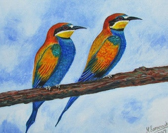 A4 Giclée Print entitled 'East Leake Bee Eaters 1' from an original acrylic painting by artist Martin Romanovsky