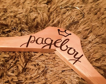 Personalised wooden wedding dress hangers | Pageboy, Groom, Best Man | Wedding Favours, Gifts
