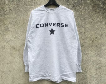 CONVERSE vintage 90s Converse long sleeve front spellout like new condition size L