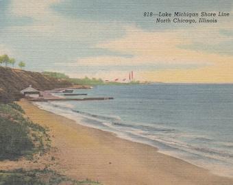 Chicago, Illinois Vintage Postcard - Lake Michigan Shore Line, North Chicago
