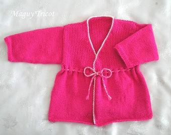Vest girl 2 years wool fuchsia pink and white
