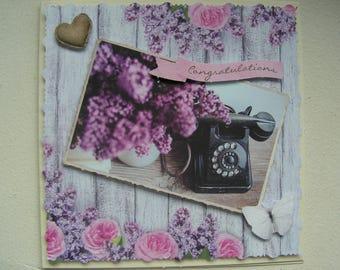 "Card congratulations ""Congratulations"" pink and lilac"