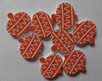Set of 8 buttons wooden Christmas ornament-orange