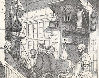 A Cairo Street - Grocer Shop, Egypt 1837 - Old Antique Vintage Engraving Art Print - Market, Signage, Moulding, Oriel, Windows, Crowd, Men