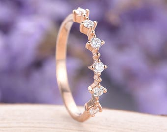 Diamond wedding band Rose gold ring Women Bridal Jewelry Stacking Matching Promise Delicate Half eternity Anniversary Birthday gift for her