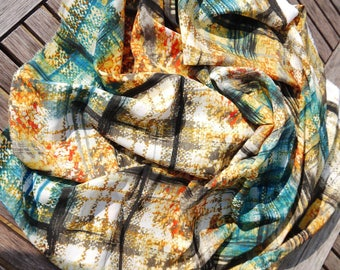 By Penelope - 75 x 190 cm autumnal colours - Silky fabric ideal scarf/shawl scarf