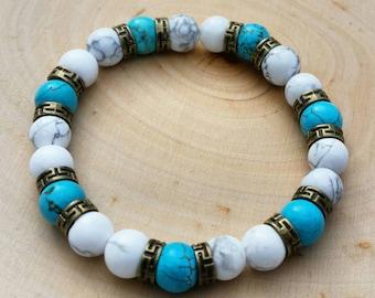 Turquoise & Howlite Mala Bracelet