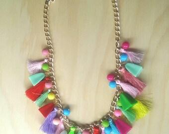 Chunky tassel necklace.