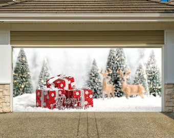Xmas decorations etsy for Christmas garage door mural