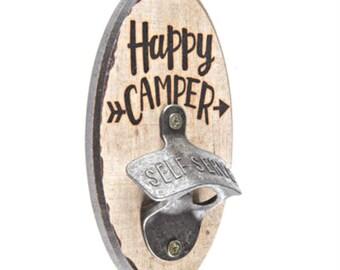 "Rustic Wood & Cast-Iron ""HAPPY CAMPER"" Wall Bottle Opener"